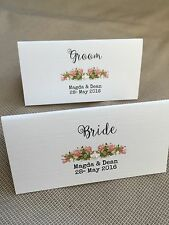 10 x Handmade Personalised Vintage Rose Name Place Cards - wedding