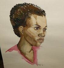 "KRAPF ""MS SIMPSON"" AFRICAN AMERICAN WOMAN ORIGINAL WATERCOLOR PAINTING 1974"
