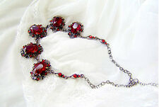 Vintage Baroque Style Ruby Red Crystal & Black Plated Collar Necklace N139