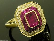 C1223 Genuine 9ct SOLID Gold NATURAL Ruby & Diamond Engagement Ring in your size