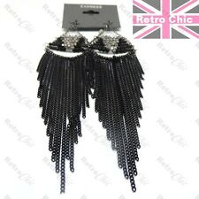 "6""long SLINKY jet crystal BLACK CHAIN EARRINGS faceted glass beads 15cm GOTHIC"
