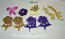 10 Bead Sequin Embroidered Sew IronOn Purple Applique Butterfly Flower Gold Pink