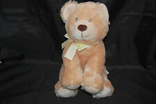 "Russ Baby Boo Bear Teddy Tan Brown Yellow Bow Embroidered Eyes Plush 12"" Toy"