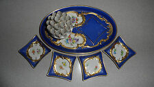 RARE CARL THIEME DRESDEN SAXONY PORCELAIN GERMANY CIGARETTE HOLDER & ASH TRAYS