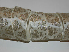 By the Yard Ivory Satin Elegant Design Wire Ribbon Christmas Holiday Wedding BTY