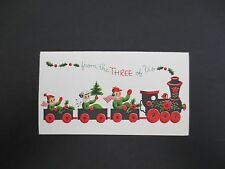 Vintage Unused Xmas Greeting Card From the 3 of Us on Steam Engine Train Ride