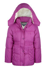 New Girls Coat School Padded Hooded Jacket Age 3 4 6 8 9 10 12 years Waterproof