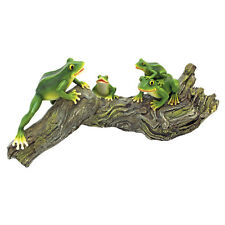 Garden Tree Frog Toad Statue Figurine Yard Lawn Art Ornament Log Decor Sculpture