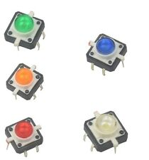 5PCS 12X12X7.3 Tactile Push Button Switch Momentary Tact LED 5 color NEW