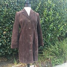 Style & Co Macy's Sz S Small Suede 100% Leather Long Trench Coat Jacket Brown