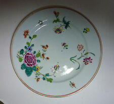 Chinese Export 18thC Porcelain Famille Rose Plate with Flowers 9""