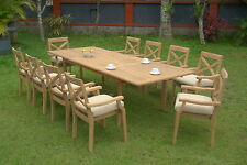 A GRADE TEAK - 11 PC DINING STACKING CHAIRS PATIO FURNITURE POOL X2 GRANADA DECK