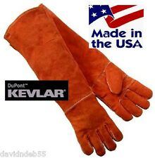 ANIMAL HANDLING GLOVES Long Arm LEATHER&KEVLAR Dog Cat Bird Pet Reptile Snake