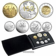 2017 Celebrating Canada's 150th 7 Coin Pure Silver Double Dollar Proof Set $1