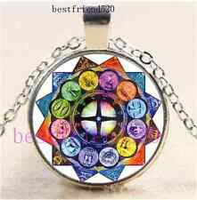 Zodiac Signs Based Cabochon Glass Silver Chain Pendant Necklace