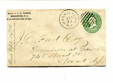 Vintage Advertising Envelope JE PARKER Morristown NJ 1878 U165 jeweler watches