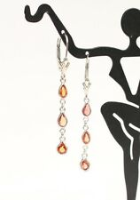 14k Solid White Gold Long Dangle Leverback Earrings, Natural Orange Sapphire