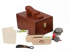 Kiwi shoe care kit shine polish valet kit wooden box polish brushes buffer NEW