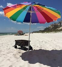 Beach Umbrella with Sand Anchor Rainbow Portable Beach Sun Shade Shelter Auger