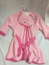 NWT Child of Mine by Carters pink terry cloth hoodie bath robe 0-9 months