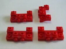 Lego 4 plates rouges modifiees 8402 4442 60027 3648  / 4 red plate modified