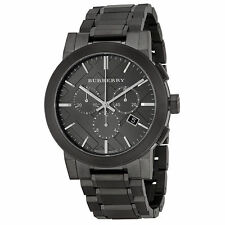 New Burberry Chronograph BU9354 Men's Dark Nickel Stainless Steel Watch