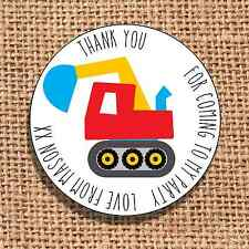 Digger Party bag stickers 24 thank you for coming sweet cone labels builder