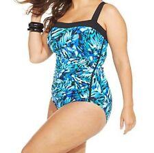 INC International Concepts One Piece Woman Sz 22W Aqua Blue Swimsuit 470903W