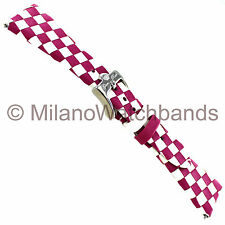 22mm Glam Rock High Quality Hand Made Braided Leather Fuchsia & White Watch Band