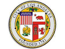 4x4 inch ROUND Los Angeles City Seal Sticker - decal la california ca hollywood