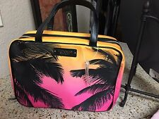 Victoria's Secret Cosmetic Make Up Bag Weekender Beauty Case Tropical Palm Trees