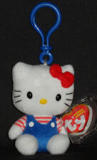 TY HELLO KITTY BLUE OVERALLS BEANIE BABY  KEY CLIP - MINT with MINT TAGS