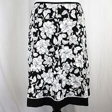 Dressbarn Skirt Sz 10 Black White Floral Stretch Cotton A-Line