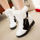 New Fashion Women's Warm Winter Flat Fur Boots Casual Mid-Calf Snow Boots Shoes