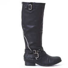 Edge Silver Zip Accent Pewter Buckle Ride Bike Combat Knee Boots Black Size 6
