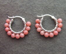 E1307011 @@~~ Pink Coral Silver Earrings-925 Silver Lever Back
