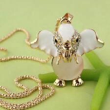 """14k Gold Plated 30"""" Dress Chain Pendant Beige Pearl Elephant Necklace JD1955"""