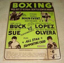 RARE LATE 60s - 70's VINTAGE BOXING POSTER LARRY BUCK VS GORILLA LOPEZ SEATTLE