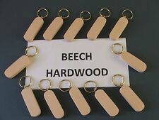 KEYRING BLANKS-BEECH-HARDWOOD-pyrograph,paint or engrave-12 in pack £4.95+car