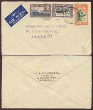 CEYLON to FRANCE AIRMAIL MULTI FRANKING KG6 1947 FERNANDO + CO ENVELOPE