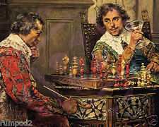 Vintage painting/Poster/Art Print/1570 Repro/'Playing Chess'/16x20in/Old Masters