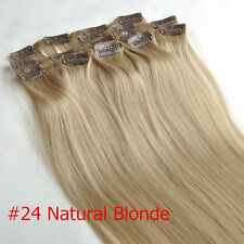 """14"""" Golden Blonde Clip In Remy 100% Real Human Hair Extensions Full Head 70g"""