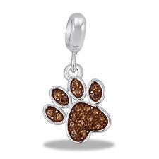 Davinci Beads Charm - CZ BROWN DOG PAW - Buy 2 or More DaVinci and Save!