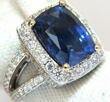 $95000 GIA 17.24CT NATURAL COLOR CHANGE SAPPHIRE SPLIT SHANK HALO DIAMOND RING