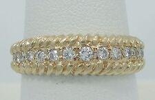Gorgeous 14K Yellow Gold VS 1/2CTW Diamond Rope Channel Band Ring SZ8.5 E988
