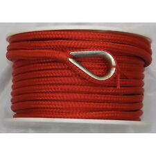 3/8 Inch x 100 Ft Red Double Braid Nylon Anchor Line for Boats
