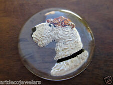 Vintage HAND PAINTED WIRE HAIR FOX TERRIER DOG REVERSE INTAGLIO CRYSTAL cab