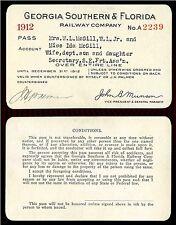 1912 GEORGIA SOUTHERN & FLORIDA Ry. RAILROAD ANNUAL PASS ~ W.L. McGILL & FAMILY