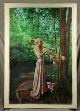 "Oil Painting signed by Argentinian Artist ""Chaval"" Titled, ""Girl with Axe"", 2014"