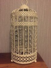 NEW Birdcage Table Lamp Light Cream with Clear Jewels Shabby Chic Style !